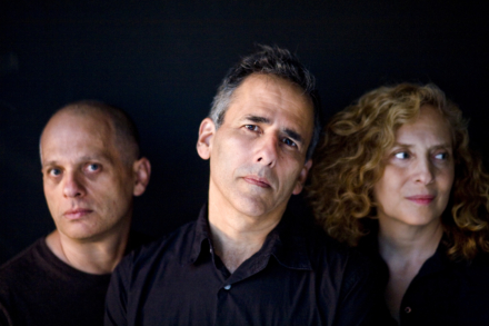 David Lang, Michael Gordon, Julia Wolfe - Bang on a Can artistic directors - group photo of the three directors on a black background
